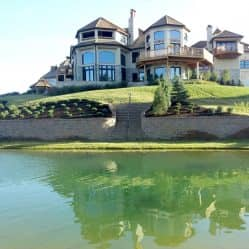 beautiful home with pond
