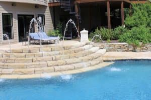 hardscape pool with fountains
