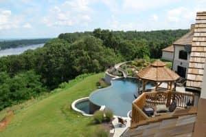 backyard pool with water slide