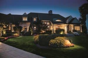 home illuminated at night