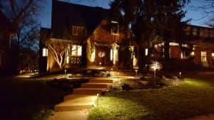 outdoor lighting illuminating house